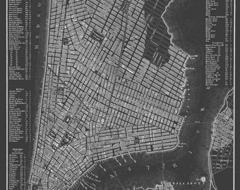 New York City Map - Manhattan Street Map Dark Gray