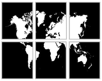 "World Map Black And White - 6 Panel Map 11"" x 14"" Prints Print Poster"