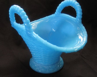 Vintage Portieux Vallerysthal Blue Opaline Woven Basket