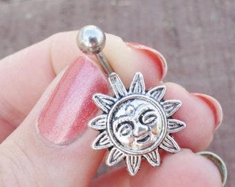 Celestial Sun Silver Belly Button Ring
