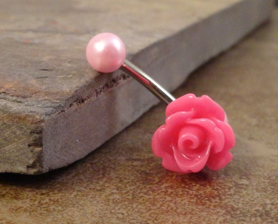 Items similar to Pink Rose Flower Belly Button Ring Blush ...