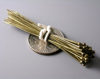 HEADPIN-AB-45MM - 100 Antique Bronze Ball End Headpins (24 guage) - 1.75 inches