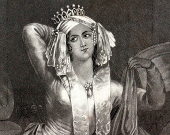 "Vintage / Antique Engraving of Cleopatra from Shakespeare's ""Antony and Cleopatra"" (c.1835) - Rare Book Plate Collectible"