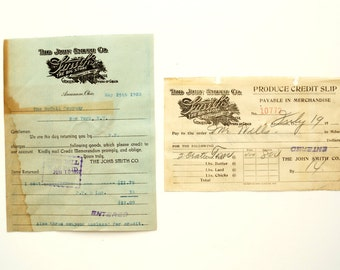 Vintage / Antique The John Smith Co. General Store Receipts (c.1920) - Paper Ephemera, Scrapbook/Journal Supply, Altered Art