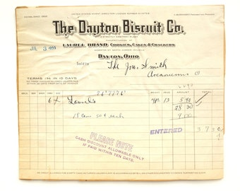 Vintage / Antique The Dayton Discuit Co. Receipt (c.1923) - Paper Ephemera, Scrapbook/Journal Supply, Altered Art