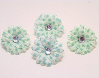 """Pale Blue Gingham 2"""" Gerber Daisies (set of 4)was 1.80"""