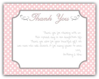 Pink Polka Dot Baptism Thank You Card Note - Baby Girl - DIY- Print at Home