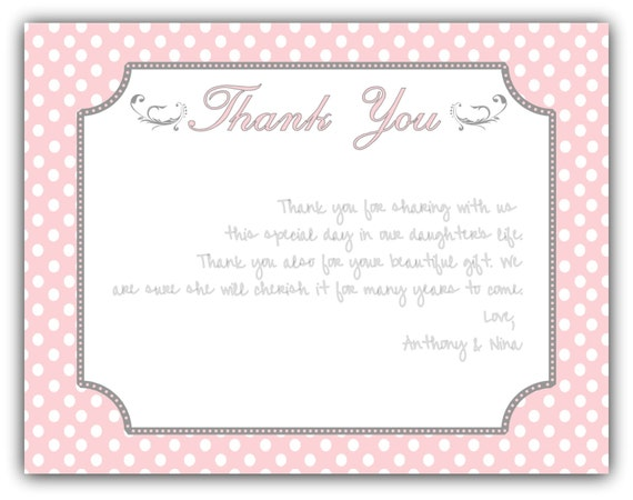 Pink Polka Dot Baptism Thank You Card Note Baby Girl DIY
