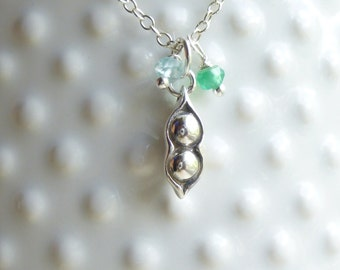 Sterling Silver Pea Pod with Two Birthstones Charm Necklace -- Personalized Mothers -- Friendship -- Sisters - Love
