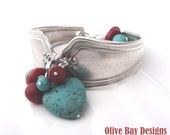 Upcycled Sterling Silver Plated Spoon Bracelet- Turquoise & Coral