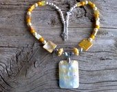 Shell pendant,glass beads and pearls,cats eye beaded necklace 20 inch