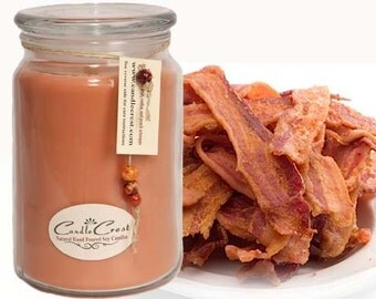 Bacon Scented Soy Candles - Hickory Smoked Bacon Candles,  Long Lasting LARGE 16oz Jar Soy Candle