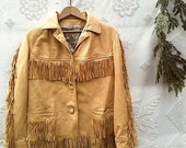 vintage leather jacket, deerskin fringe jacket, rustic leather jacket, gift for woman, christmas, holiday gift, cabin, forest, gift for guy