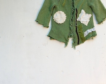 Meadow green rustic boho gypsy holiday farm girl upcycled tattery vintage lace edgy ooak sweater cardi