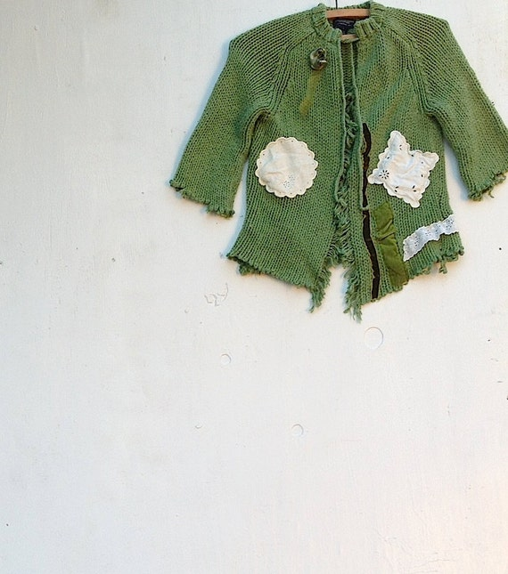 RESERVED Sarah rustic boho gypsy holiday farm girl upcycled tattery vintage lace edgy ooak sweater cardi