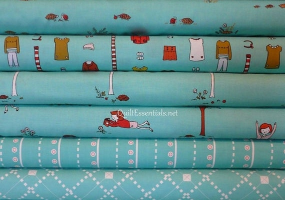 Clearance - Little Apples by Aneela Hoey for Moda - 6 Fat Quarter Bundle in Aqua