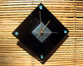 Modern Checkered fused glass clock