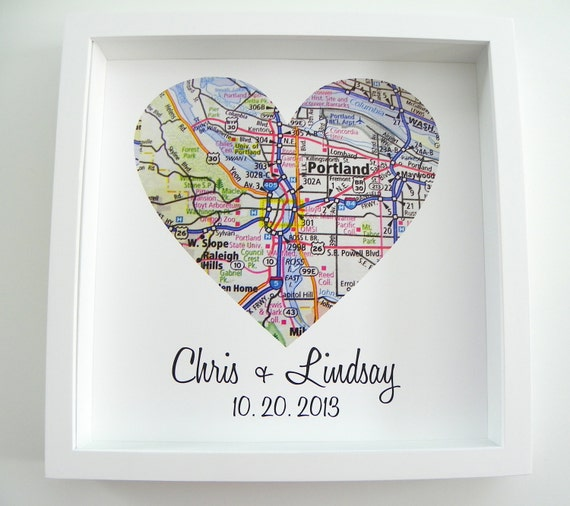 Bridal Shower Gift Map Heart FRAMED Print Wedding Art Any Location ...