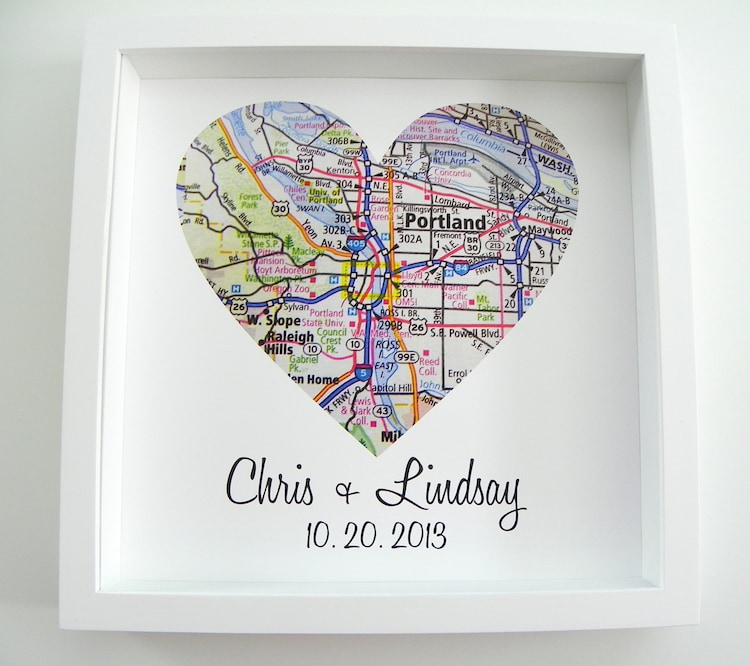 Gift For Couple City Map Heart Framed Art Print By
