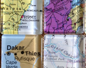 Destination Wedding favors Glass Fridge Magnets World Maps set of 12, 1""