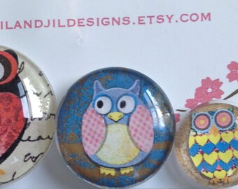 """Owls glass cabochon magnets in three sizes S(1/2 """"),M(1""""),L(1.5"""")"""