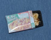Dollhouse Miniature Grocery - One Inch Scale - Frozen Dinner Box with Removable Food Tray - Sweedish Meetballs