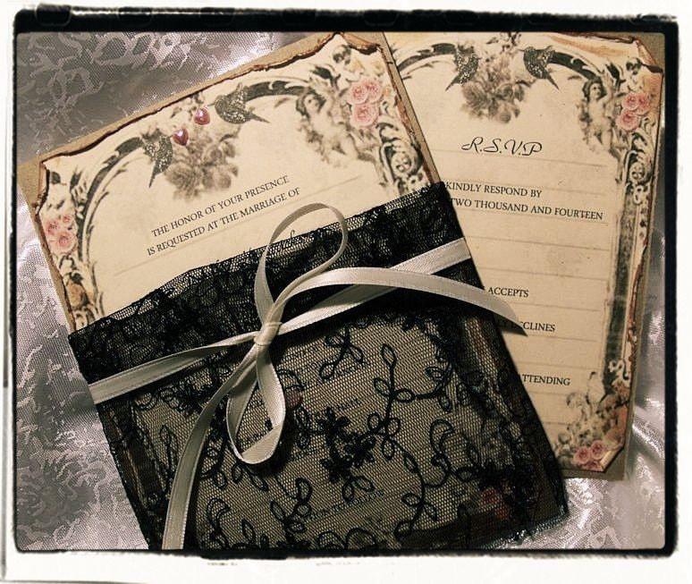 Wedding Invitations High End: High End Black Lace Wedding Invitation Suite