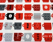 Robert Kaufman Retro Cafe ASD 10761182 Licorice/Coffee Cups/Red/Black/Gray/Fabric by the Yard/Half Yard/Fat Quarter/PRICES VARY