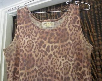Animal Print Brown Vest Tank Top, Vintage - Large