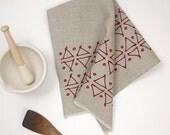Triangles, natural linen tea towel, cranberry