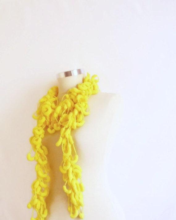 YELLOW SCARF CROCHET  neon scarf  Pom Pom Cheerleader  Knit Curly Long , Neckwarmer, Cowl, Necktie - Cocoon  Yarn -  Gift for