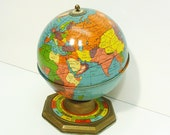 50s World Globe all metal with months astrological signs seasons good vintage condition
