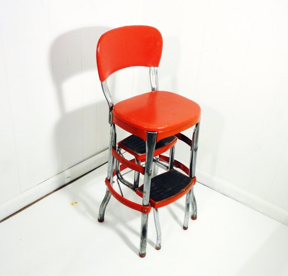 Red Retro Cosco 50s Vintage Step Stool Kitchen Stool Chair