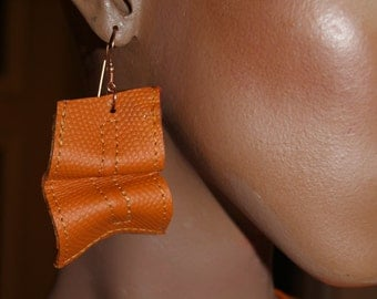 Orange Tangerine Embossed Croc Leather Sculpted Dangle Earrings with real Copper Hooks