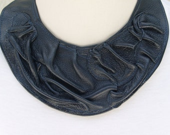 Blueberry Navy Blue Leather Bib Collar Necklace with Textured Leather Piece