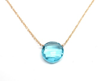 14k Gold Blue Topaz Gemstone Necklace - Bridesmaids Gift - Graduation Gift - Mother's Day Gift
