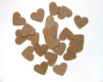 200 Punched Kraft Hearts, Confetti, Party Decor, Weddings, Showers, Valentine's Day