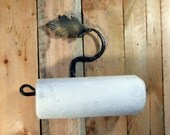 Horizontal wall mount paper towel rack with Oak leaf & Acorn kitchen pantry or hand towels Blacksmith made in the USA