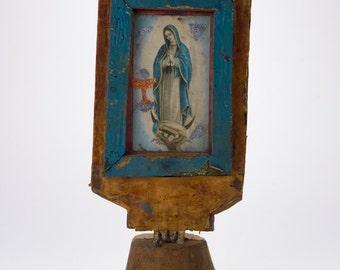 Vintage Virgin of Guadalupe Handmade Assembled Religious Art Artifact from Ecuador