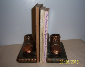 1950's Bronzed Baby Shoes Bookends  -  Bronze Baby Shoe Book Ends
