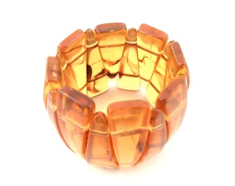 Lucite Stretch Bracelet - Faux Amber Apple Juice - Small