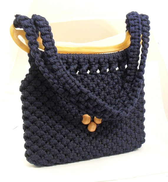 Navy Blue Macrame Shoulder Bag Purse Knotted By