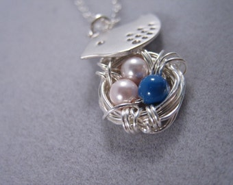 Mother Bird, Egg Nest, Sterling Silver Necklace, Gift for Expectant Mommy, Family Necklace, Cute little bird, Silver Necklace