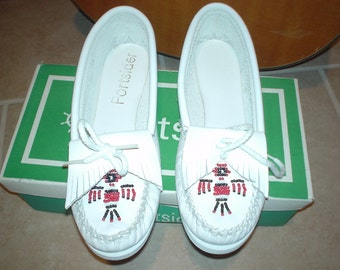 Thunderbird 50s style White Leather Moccasins 5.5 Deadstock new and unused with Box
