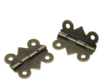 10 Antiqued Bronze Metal Hinges for Framing, Crafts  FIN0030