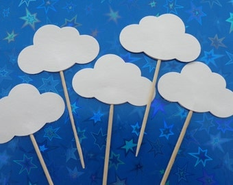 24 White Cloud Party Picks - Cupcake Toppers - Food Picks - Baby Shower Food Decor - Cloud Toppers