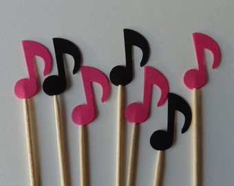 24 Pink and Black Music Notes Food Picks - Cupcake Toppers - Party Picks