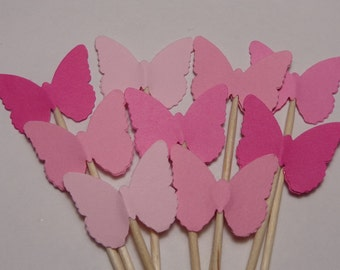 24 Mixed Pink Classic Butterfly Party Picks - Cupcake Toppers - Food Picks