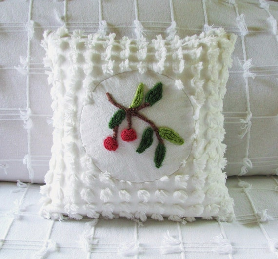 Vintage chenille pillow cover 14 X 14 TWO CHERRIES red cushion cover cottage chic