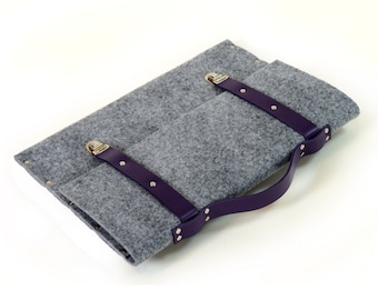 MacBook 15 Pro bag briefcase sleeve cover grey synthetic felt with leather straps and handle made by SleeWay